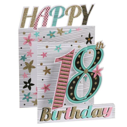'18th Birthday' Flowers 3D Card