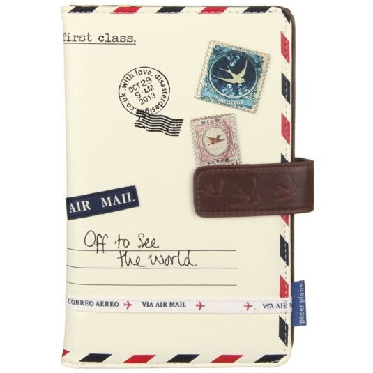 Paper Plane Cream Travel Wallet