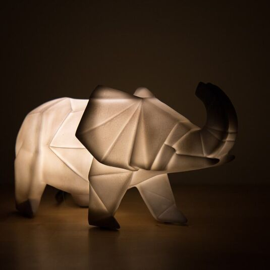Grey Elephant Origami Lamp