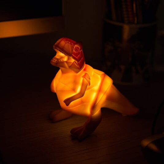 Small Orange Dinosaur Origami LED Lamp