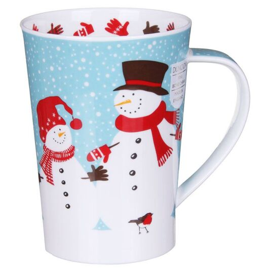 Snow Flurry Snowman Argyll Shape Mug