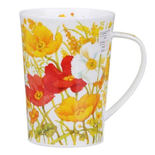 Meadow Poppies Yellow Argyll Shape Mug