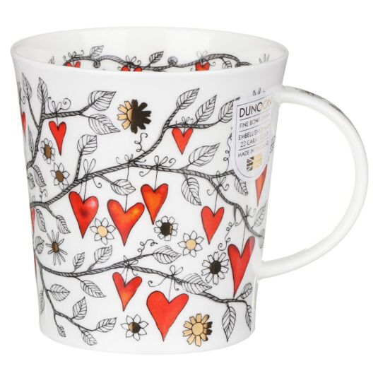 Tree of Hearts Red Lomond Shape Mug
