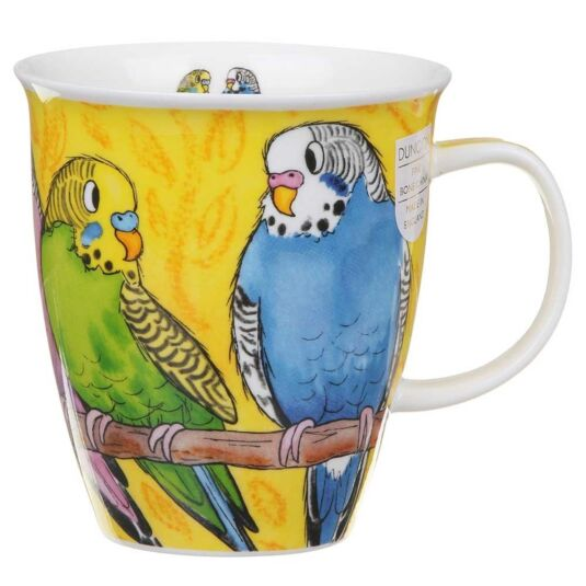 Tropical Birds Budgies Nevis Shape Mug