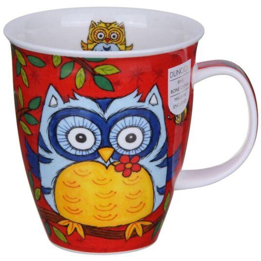 Owls Red Nevis Shape Mug