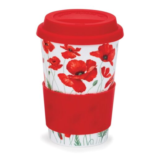 Poppies Red Travel Mug
