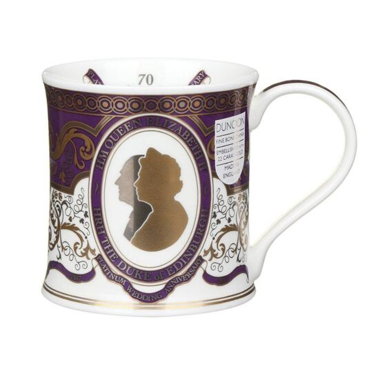 HM the Queen's 70th Wedding Anniversary Wessex Shape Mug