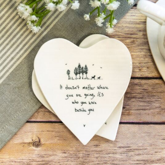 'Beside You' Heart Shaped Coaster
