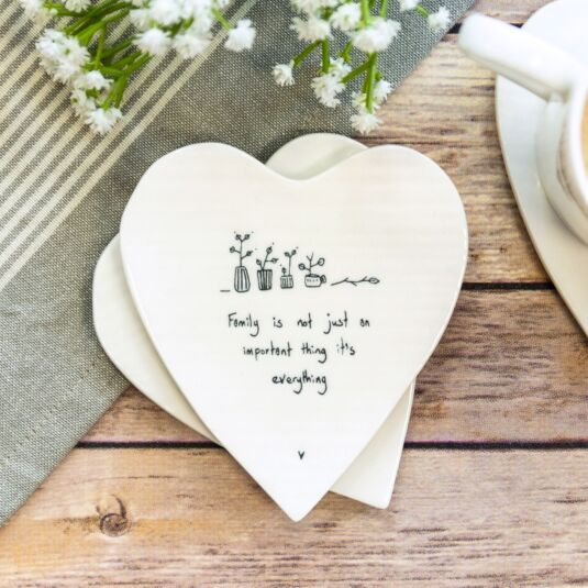'Family is Everything' Heart Shaped Coaster