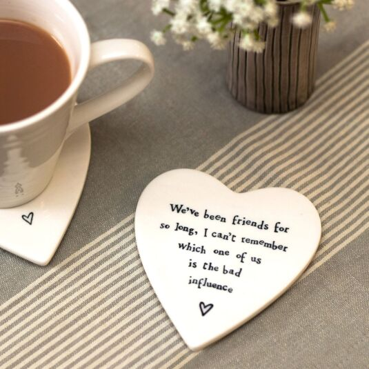 'Bad Influence' Heart Shaped Coaster