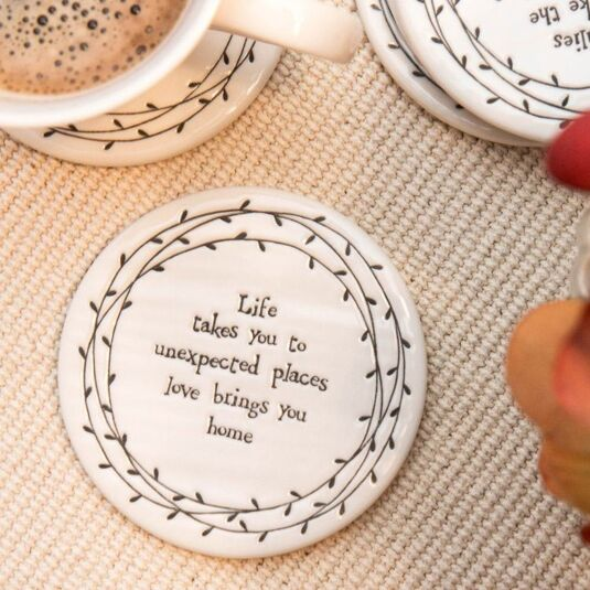 Life Takes You Porcelain Leaf Coaster