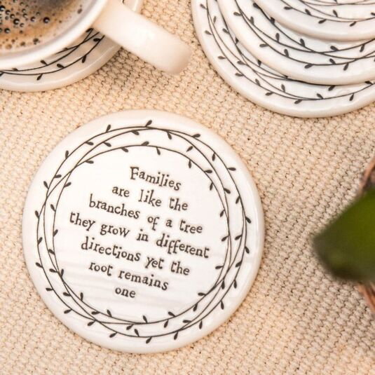 Families Are Like Branches Porcelain Leaf Coaster