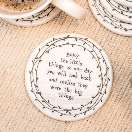 Enjoy the Little Things Porcelain Leaf Coaster