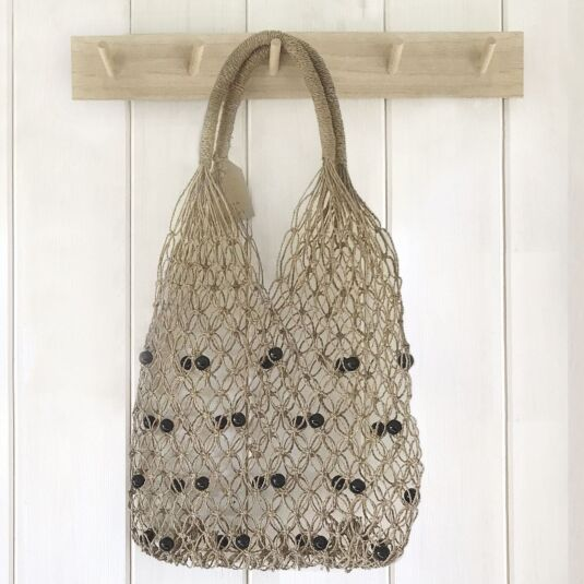 Sea Grass String Bag with Black Beads