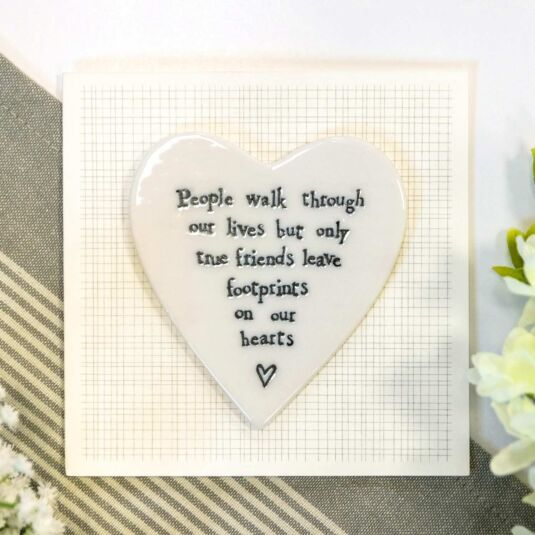 'Footprints on Our Hearts' Porcelain Heart Card