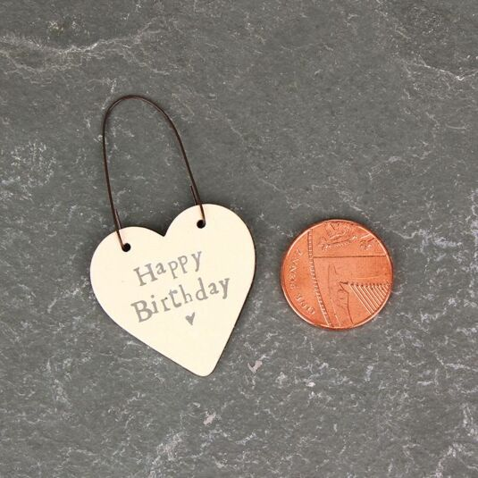 'Happy Birthday' 3cm Little Heart On Wire