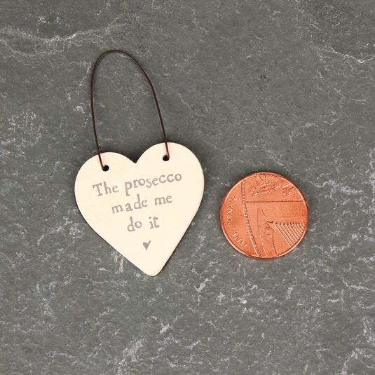 'Prosecco Made Me' 3cm Little Heart On Wire