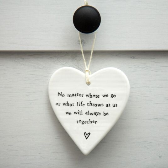 'No Matter Where' Round Porcelain Heart