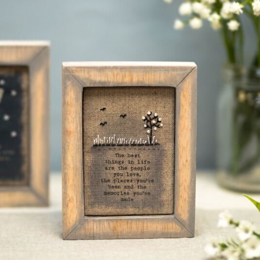 'Best Things In Life' Embroidered Box Frame