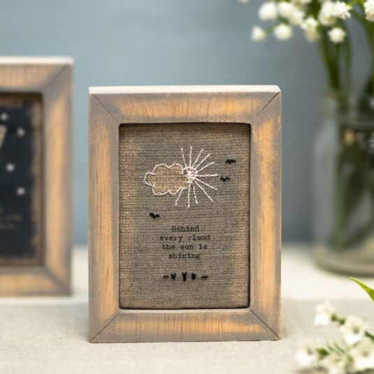 'Behind Every Cloud' Embroidered Box Frame