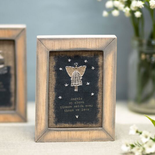 'Angels Up Above' Embroidered Box Frame
