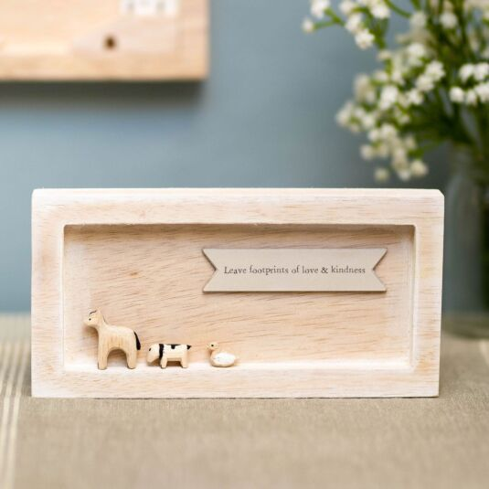 'Leave Footprints' Landscape Standing Box Frame