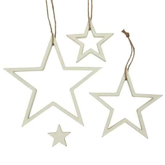 White Hanging Outline Star Set