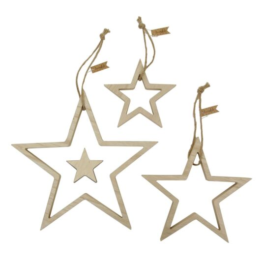 Natural Wood Outline Star Set