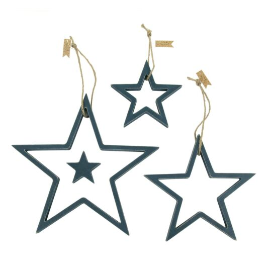 Navy Blue Wood Outline Star Set