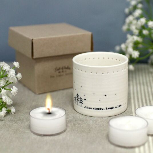 'Live simply' Tea Light Holder