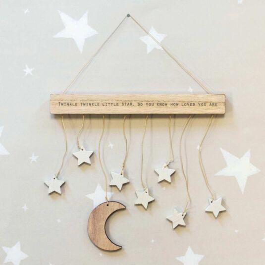 Wooden Hanger Moon & Stars Mobile