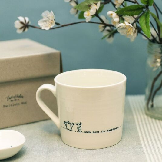 'Dunk Here for Happiness' Wobbly Porcelain Boxed Mug