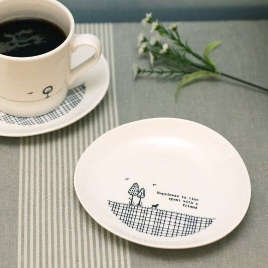 'Time Spent With A Friend' Wobbly Porcelain Plate