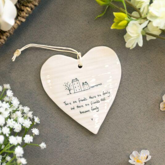 East of India Long Porcelain Hanging Heart Keepsake Gift Friend Family