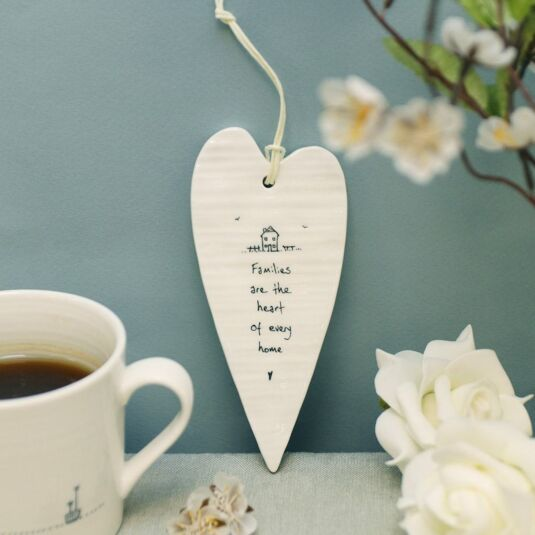 'Families are the Heart' Long Porcelain Heart
