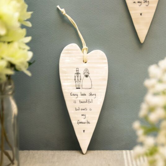 'Every Love Story' Long Hanging Heart