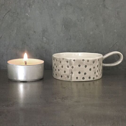 Dimpled Spot Handled Tea Light Holder