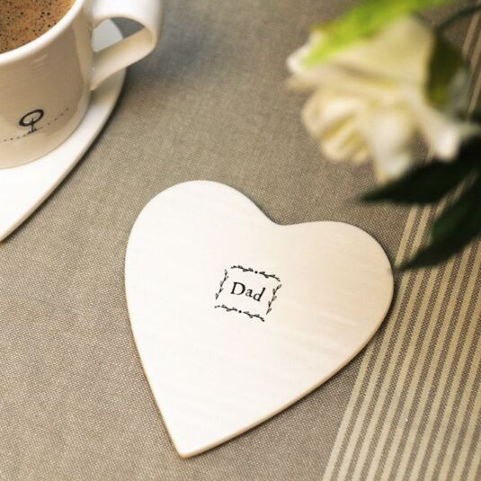Dad Heart-Shaped Porcelain Coaster
