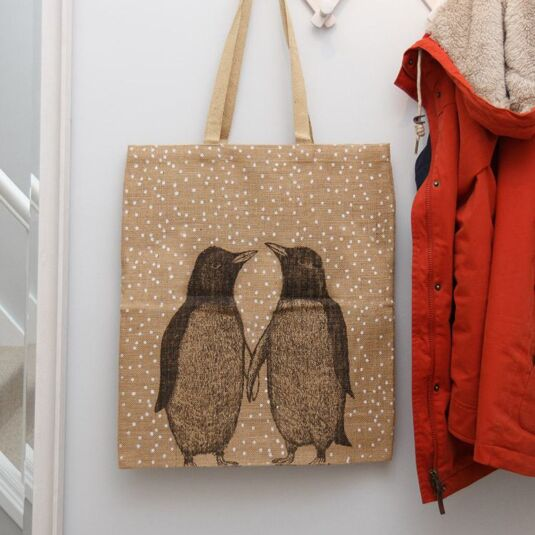 Penguins Jute shopping bag
