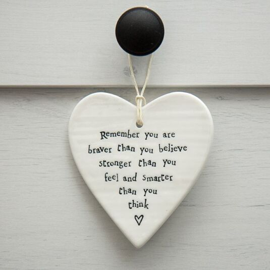 Porcelain Hanging Heart You Are Braver