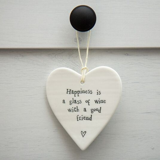 Happiness is a Glass Of Wine Porcelain Heart