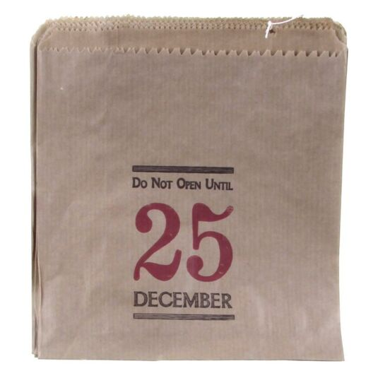 Do Not Open Until 25 December Strung Kraft Paper Bags
