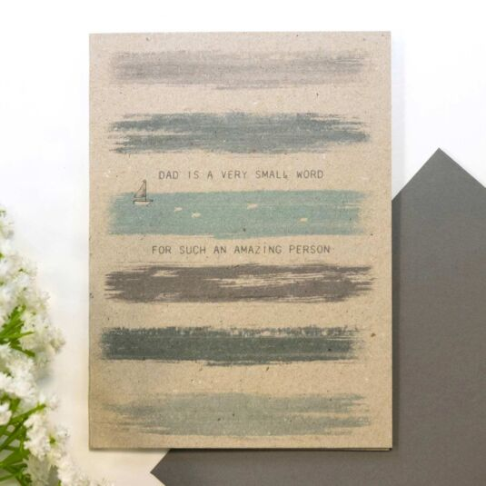 'Dad Is A Very Small Word' Colour Wash Card