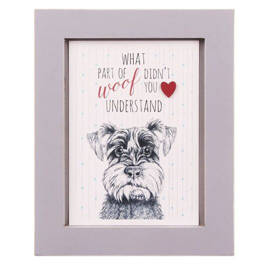 Woof Dog A6 Framed Picture