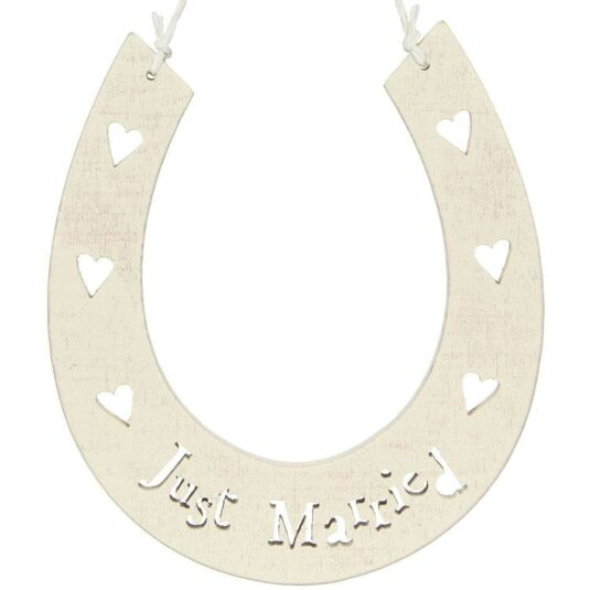 Just Married Wooden Horseshoe