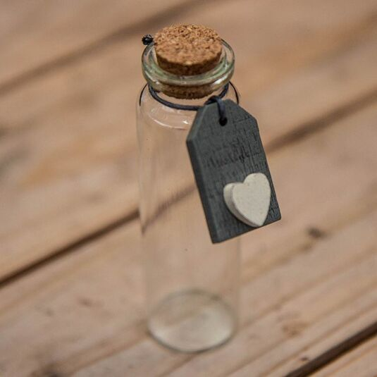 7c34332ed78f East of India Mini Glass Bottle With Cork & Grey Tag