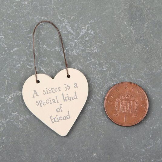 A Sister Is A Special Kind Of A Friend  - 3cm Little Heart On Wire