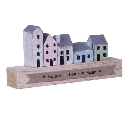 House + Love + Home Wooden Ornament