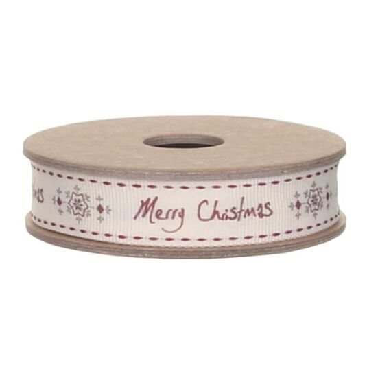 Merry Christmas Snowflake Ribbon 3m