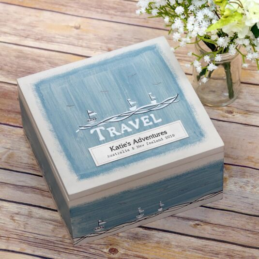 Personalised 'Travel' Keepsake Box